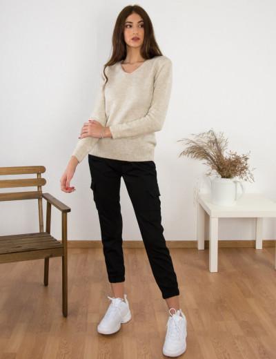 Γυναικείο μπεζ μάλλινο πουλόβερ με Ve BT15382R