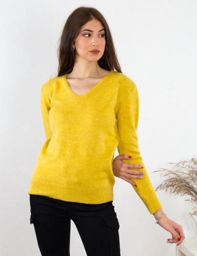 Γυναικείο κίτρινο μάλλινο πουλόβερ με Ve BT15382W