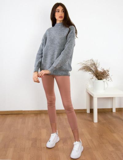 Γυναικείο γκρι πλεκτό πουλόβερ BT1901G
