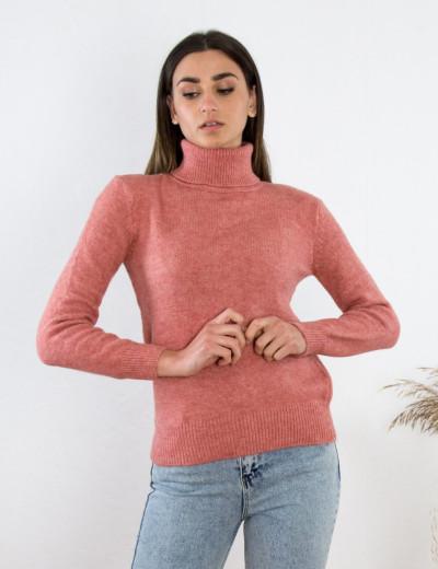 Γυναικείο ροζ πουλόβερ ζιβάγκο BT1510