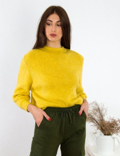 Γυναικείο ώχρα μάλλινο πουλόβερ Oversized BT1767X