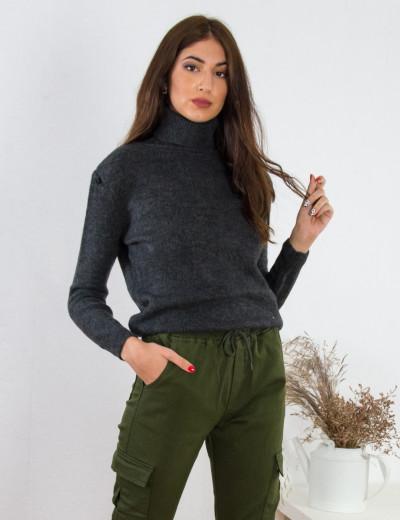 Γυναικείο ανθρακί πουλόβερ ζιβάγκο BT1510M