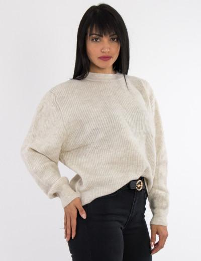 Γυναικείο μπεζ μάλλινο πουλόβερ Oversized BT1767L