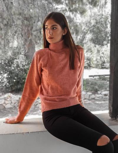 Γυναικείο σομόν μάλλινο πουλόβερ ζιβάγκο BT18202S