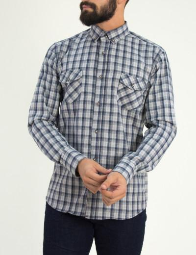 Ανδρικό μπλε καρό πουκάμισο με τσεπάκια Ben Tailor 0091F
