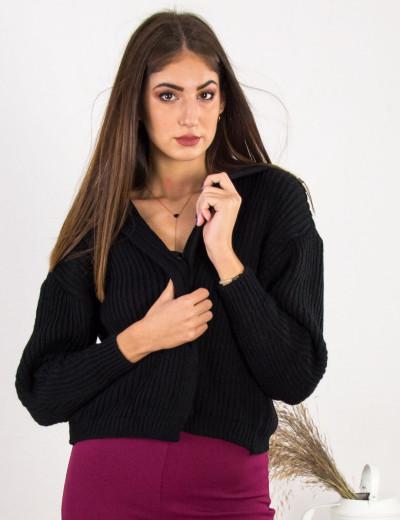 Γυναικεία μαύρη κοντή πλεκτή ζακέτα σχέδιο πλέξης 304350
