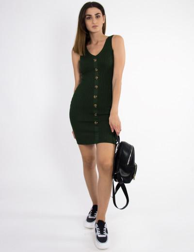 Γυναικείο χακί πλεκτό φόρεμα ράντες κουμπιά 08085X