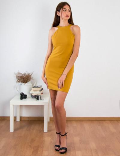 Γυναικείο ώχρα ελαστικό φόρεμα Cocktail 014100001G