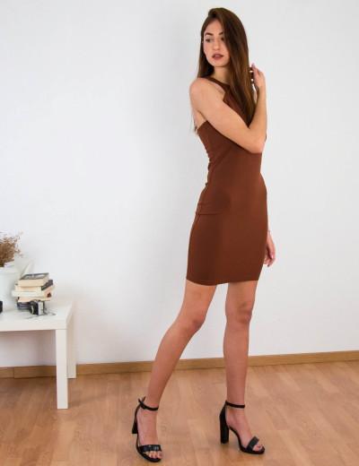 Γυναικείο καφέ ελαστικό φόρεμα Cocktail 014100001F
