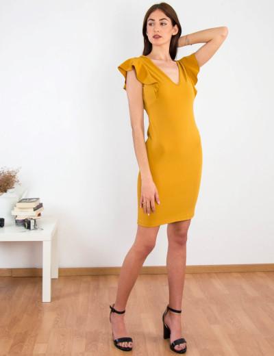 Γυναικείο ώχρα μονόχρωμο Scuba φόρεμα βολάν 8295129C