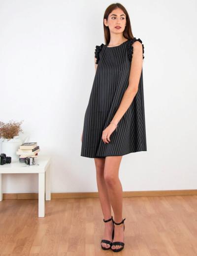 Γυναικείο μαύρο ριγέ φόρεμα σε Α γραμμή 91405