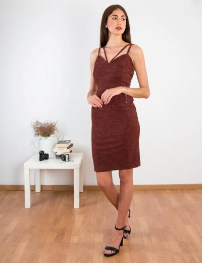 Γυναικείο καφέ εφαρμοστό φόρεμα Lurex ραντάκι 8307174L