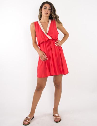Γυναικείο ντραπέ φόρεμα Coocu κοραλί 53513F