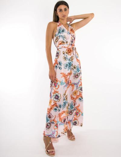 Γυναικείο ροζ floral φόρεμα maxi με δέσιμο 4930