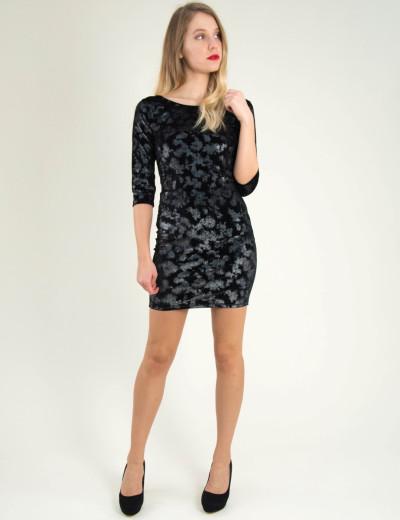 Γυναικείο μαύρο βελούδινο φόρεμα άνοιγμα πλάτη 8004198