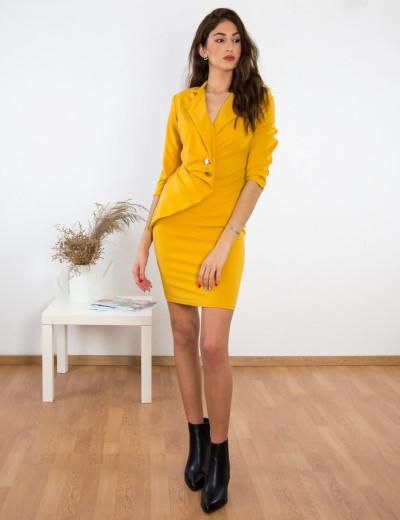 Γυναικείο ώχρα midi φόρεμα χιαστί χρυσά κουμπιά 2052610