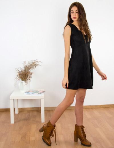 Γυναικείο μαύρο αμάνικο φόρεμα σουέντ Coocu 91411