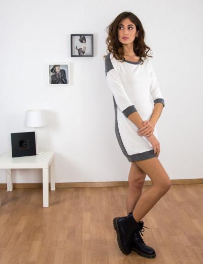 Γυναικείο λευκό φόρεμα με ζακάρ σχέδιο κοντό μανίκι 91098