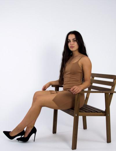 Γυναικείο καφέ ανοιχτό scuba crepe φόρεμα ραντάκι σκίσιμο 014300001Q