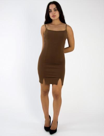 Γυναικείο καφέ σκούρο scuba crepe φόρεμα ραντάκι σκίσιμο 014300001G