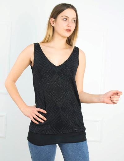 Γυναικεία μαύρη αμάνικη μπλούζα ιριδίζον UK301116