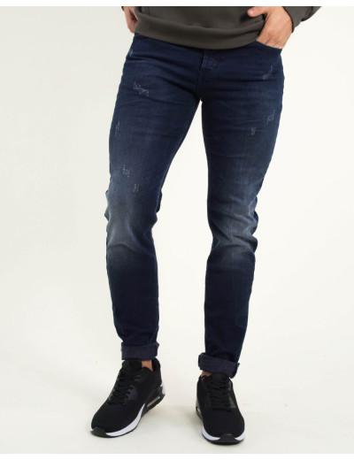 Ανδρικό μπλε τζιν παντελόνι με ξεβάμματα Trial Matthew 18B