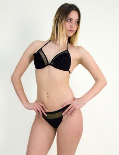 Γυναικείο μπικίνι μαγιώ βολάν διαφάνεια μαύρο SY3061