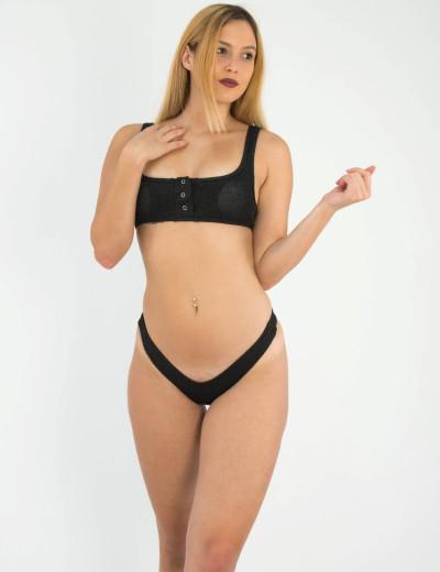 Γυναικείο μαύρο ριπ μπικίνι lurex κουμπιά μπούστο WX151