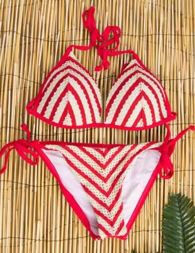 Γυναικείο κόκκινο ριγέ μπικίνι τρίγωνο με κορδόνια ES1070R