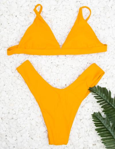 Γυναικείο ώχρα μπικίνι τρίγωνο μονόχρωμο 6192V