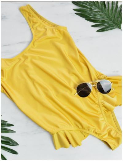 Γυναικείο μαγιώ χρυσαφί ολόσωμο με βολάν CAROLINE7