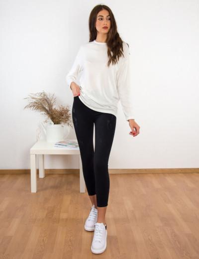 Γυναικεάι εκρού μακρυμάνικη μπλούζα Oversize BT6152