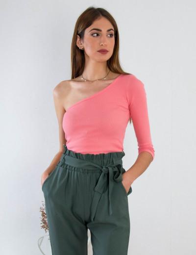 Γυναικείο ροζ neon τοπ με έναν ώμο 3995430R
