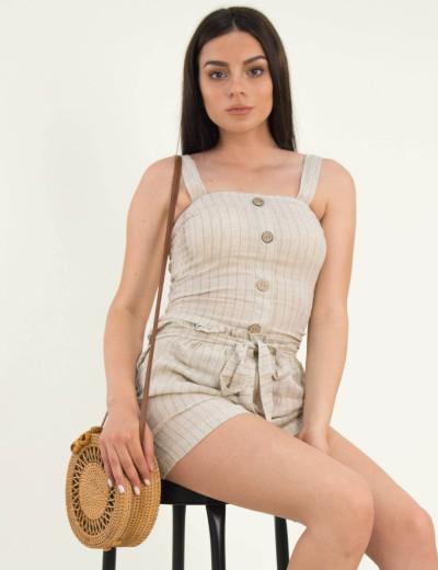 Γυναικείο μπεζ ριγέ τοπ λινό κουμπιά λάστιχο ράντες 2393W