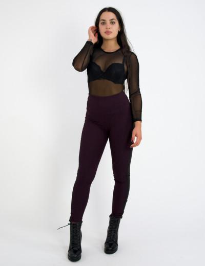 Γυναικείο βυσσινί παντελόνι κολάν ρίγες 41686Q