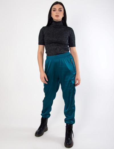 Γυναικείο πετρόλ σατέν παντελόνι Boyfirend με λάστιχο 41709