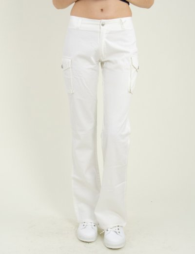 Γυναικείο λευκό τζην παντελόνι καμπάνα πλάγιες τσέπες 8TF17K