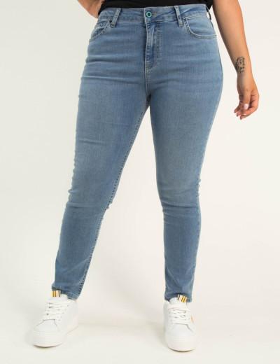 Γυναικείο μπλε ελαστικό τζιν παντελόνι σωλήνας Plus Size 5721