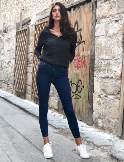 Γυναικείο μπλέ τζιν παντελόνι σωλήνας  AY164348