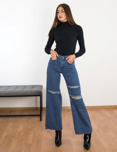 Γυναικείο μπλέ Wide Leg τζιν με σκίσιμο RW194005