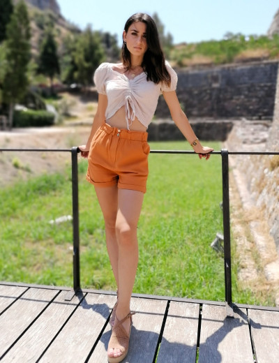 Γυναικείο κεραμιδί ψηλόμεσο τζιν σορτς με λάστιχο S574D