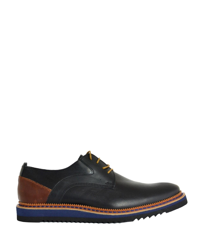 697185e62d Ανδρικά δερμάτινα παπούτσια Nice Step μαύρα δετά 751