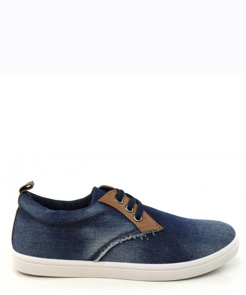 Τζιν sneakers με ξεβάμματα C90195 ανδρασ   ανδρικα παπουτσια   παπουτσια   casual   sneakers
