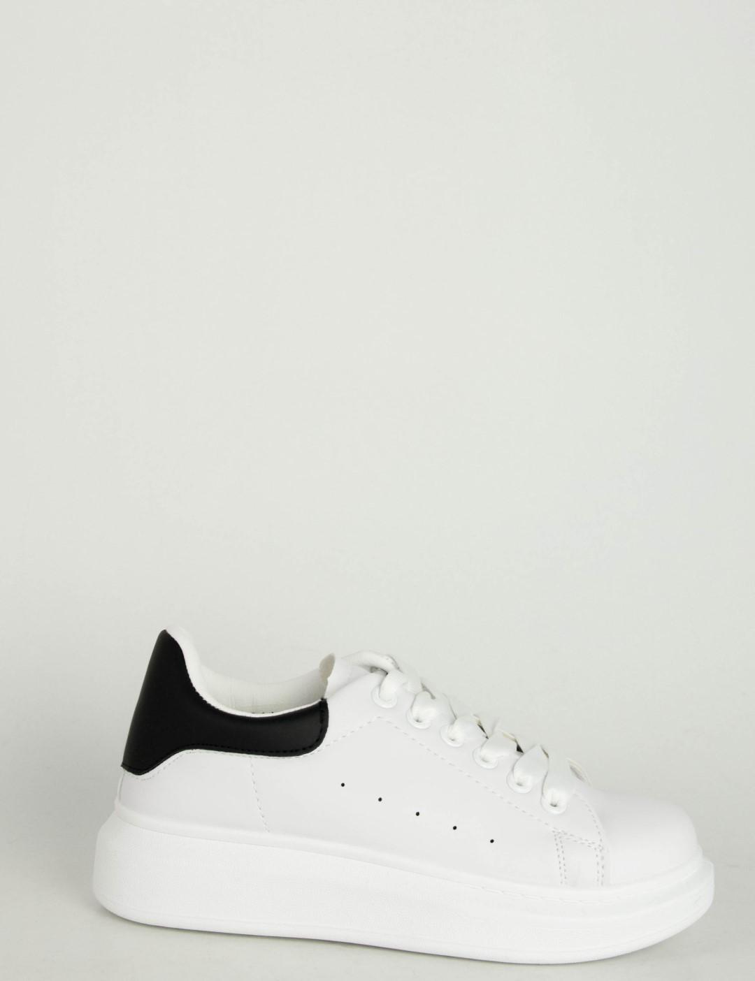 7627dd5d99d Ανδρικά λευκά μαύρο δίσολα Sneakers λαστιχένια σόλα M723R