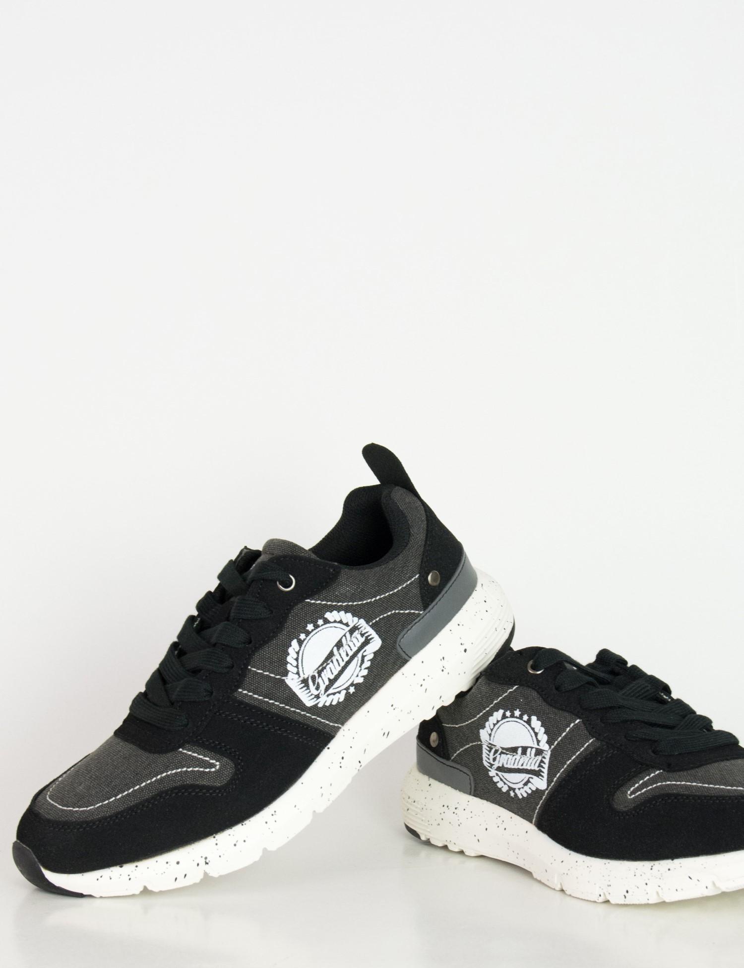 360e3f17a70 Ανδρικά Sneakers παπούτσια μαύρα υφασμάτινα K70420F