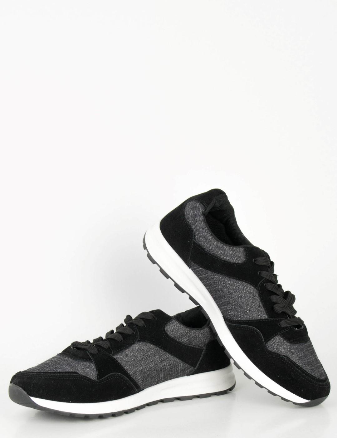 84c9ecc07ba Ανδρικά μαύρα Sneakers με κορδόνια και διχρωμία B15353L