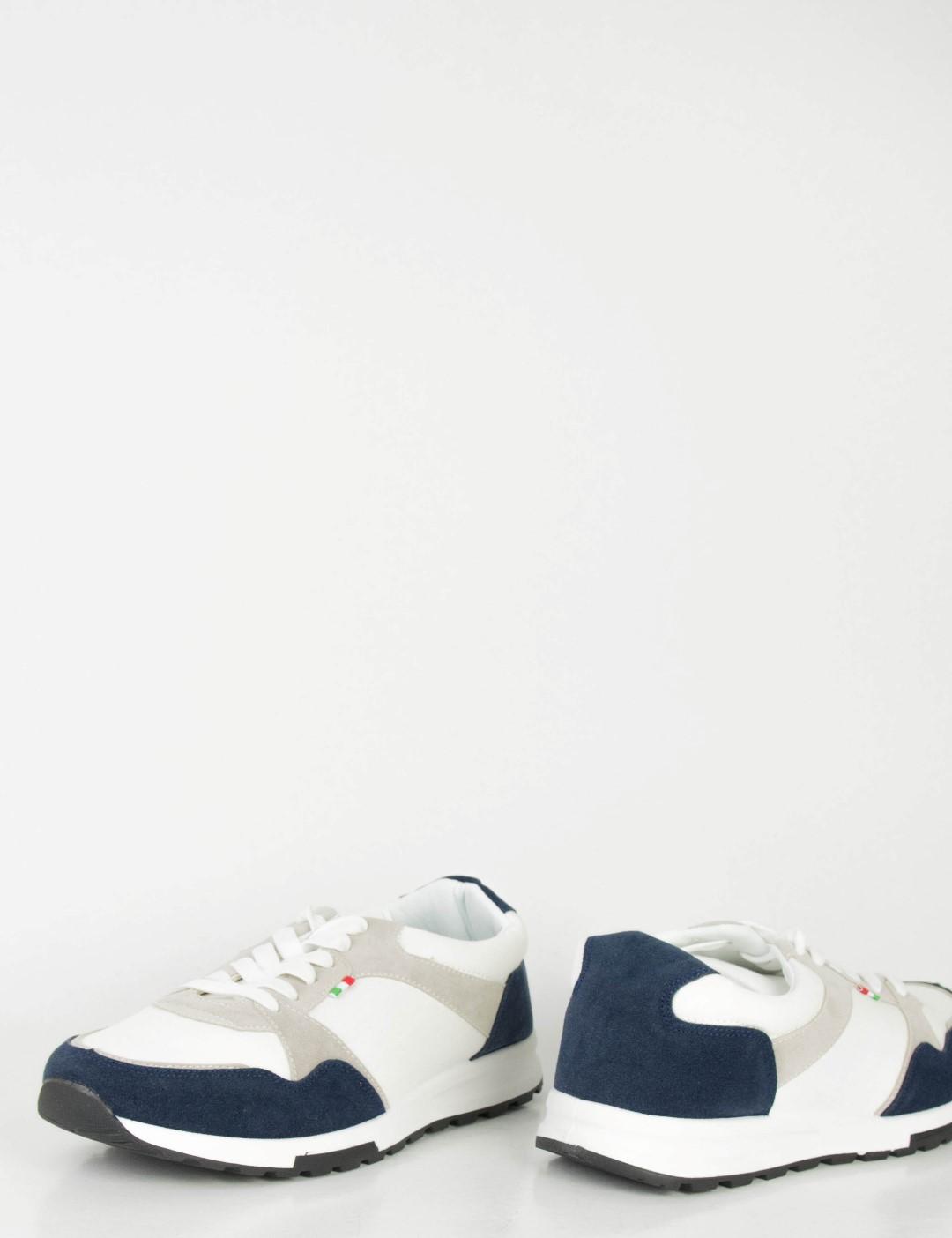 1b31c32bd5a Ανδρικά λευκά Sneakers με κορδόνια και διχρωμία B15353K