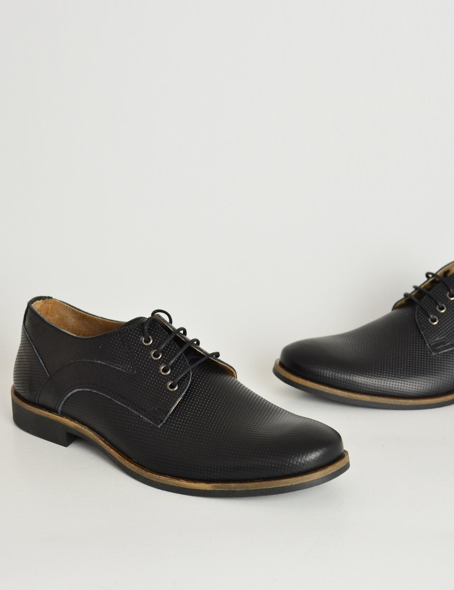 Ανδρικά δερμάτινα παπούτσια Nice Step μαύρα δετά 795  ec6cacf6b61