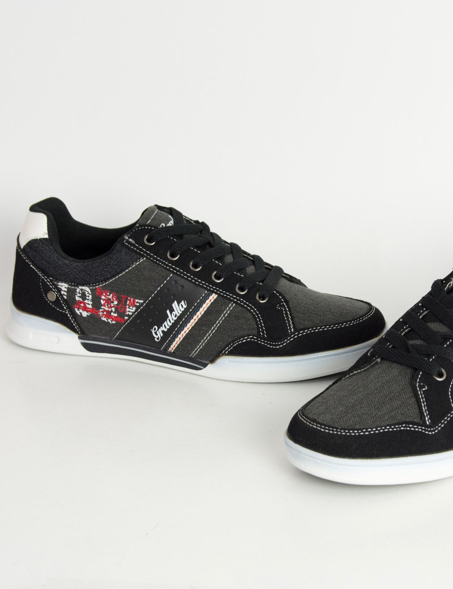 Ανδρικά Casual παπούτσια μαύρα χαμηλά κορδόνια K70422 df3ea4e6478