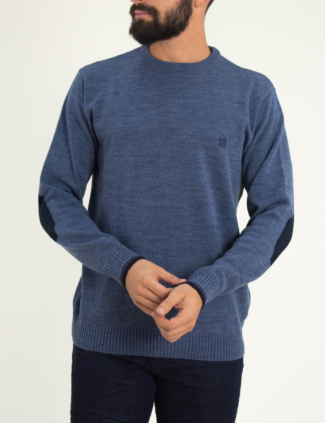 2518f7cdf2d8 Ανδρικό γαλάζιο πλεκτό πουλόβερ με διχρωμία Darious 18555F